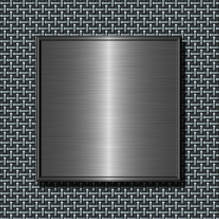 Shiny brushed metal plate against abstract steel net background photo
