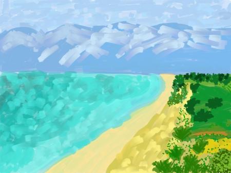 Digital illustration landscape- water, mountain, beach illustration