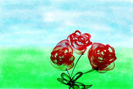 Digital illustration, summer landscape with three roses over green grass illustration