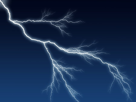 Digital illustration of a lightning bolt at night dark blue sky illustration