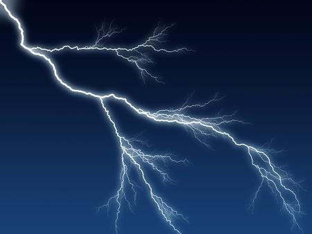 lightning bolt: Digital illustration of a lightning bolt at night dark blue sky