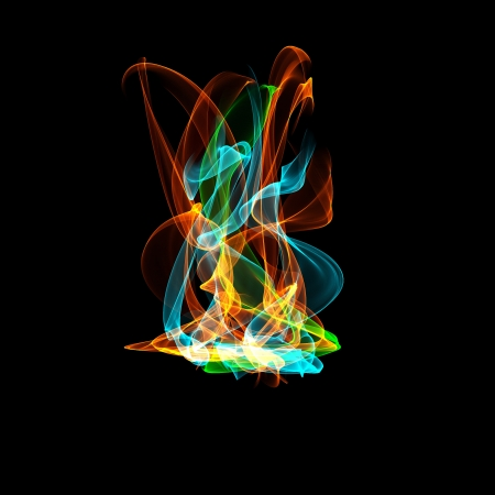 hellish: Colorful fire flame over black background digital illustration