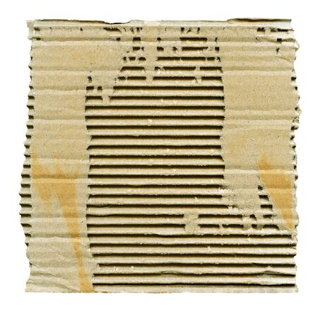 Textured striped ribbed cardboard with torn edges isolated over white Stock Photo - 16804186