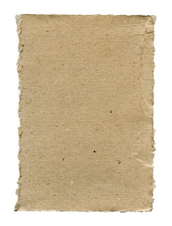 Textured rough cardboard with torn edges isolated over white photo