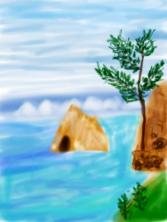Digital illustration, summer landscape with alone tree at sea coast illustration