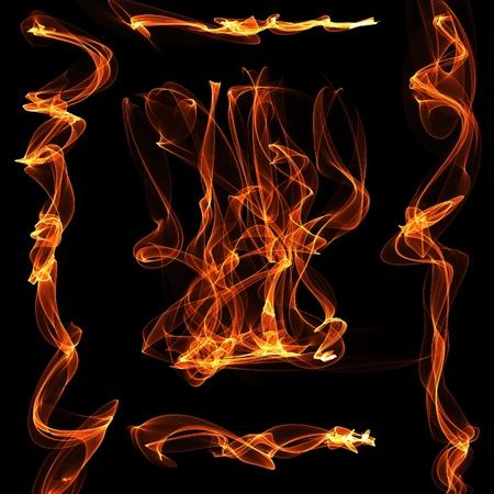 hellish: Red orange fire flame over black background digital illustration