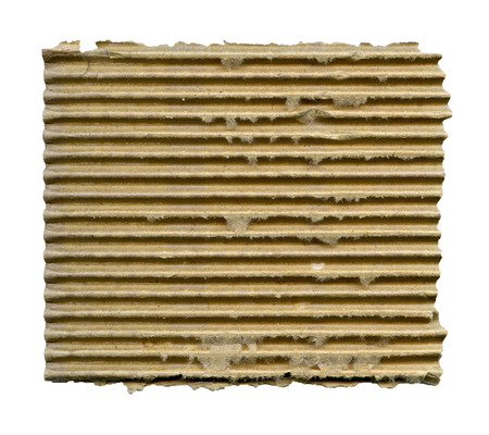 torn edges: Textured striped cardboard with torn edges isolated over white