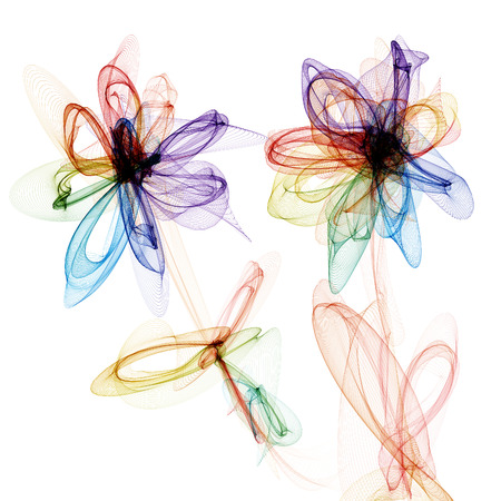 Abstract generated graphic flowers over white background Stock Photo