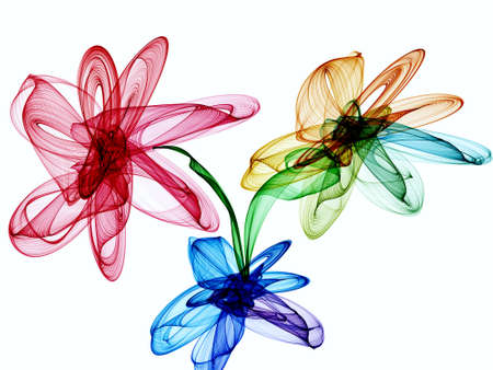 elaborate: Abstract generated colorful flowers over white background