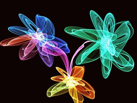 Abstract generated clorful flowers over black background