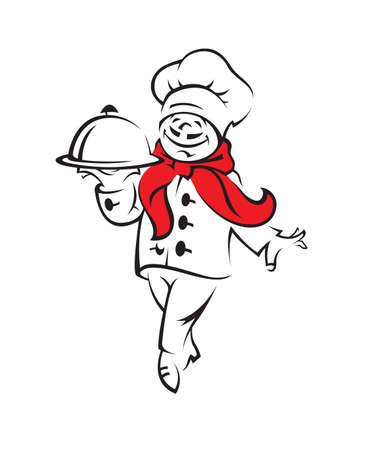sirvientes: chef con bandeja de comida en la mano