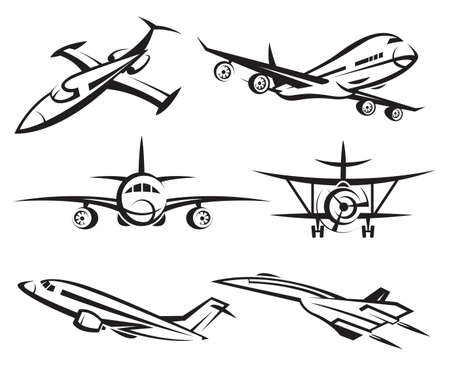 collection of aircraft Vector