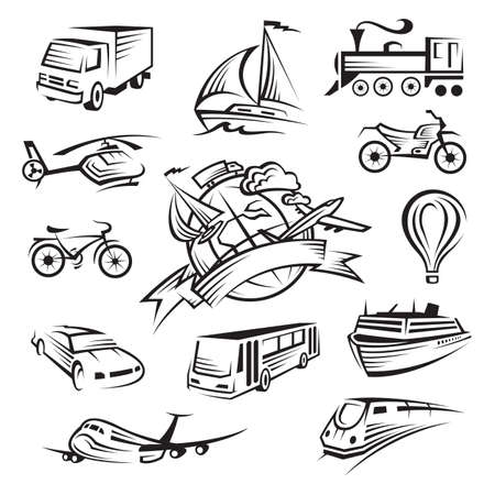 helicopters: collection of icons of transport