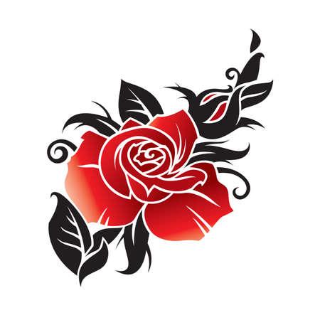 tatouage fleur: graphique vectoriel de rose Illustration