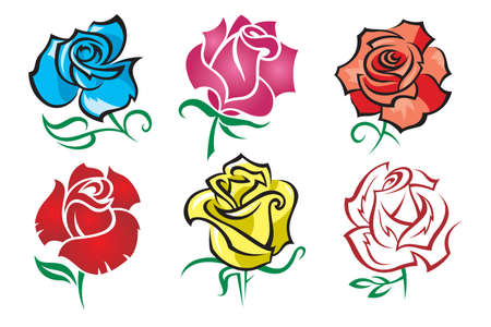 yellow roses: set of roses Illustration