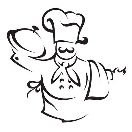 servant: chef with tray of food in hand Illustration