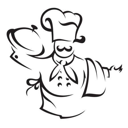 sirvientes: cocina con una bandeja de comida en la mano Vectores