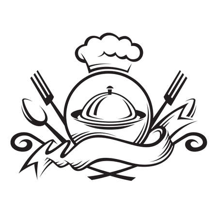 chef hat with spoon, fork and dish