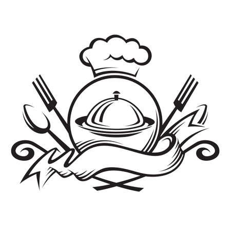 cuchara y tenedor: Chef sombrero con cuchara, tenedor y plato