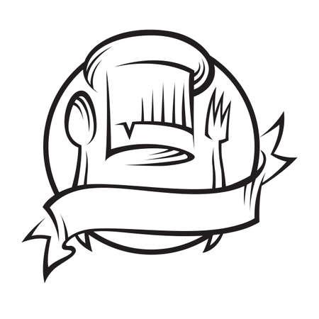 šéfkuchař: chef hat s lžící a vidličkou