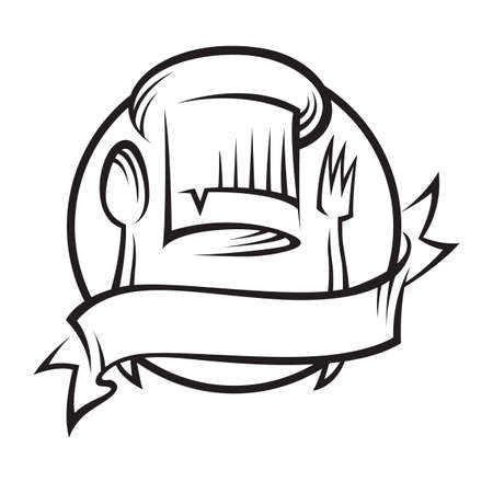 gorro chef: Chef sombrero con cuchara y tenedor