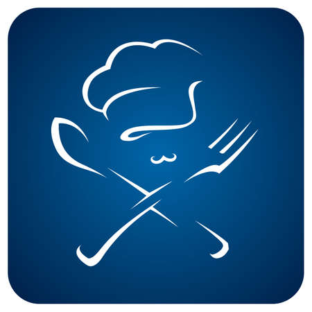 chef kitchen: chef hat with spoon and fork