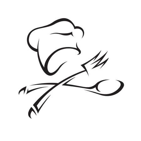 fine cuisine: cappello da cuoco con coltello e forchetta