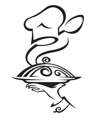 chef hat with dish Vector
