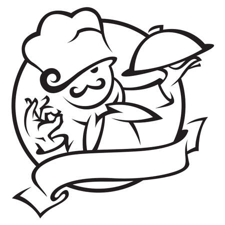chef caricatura: chef con bandeja de comida en la mano
