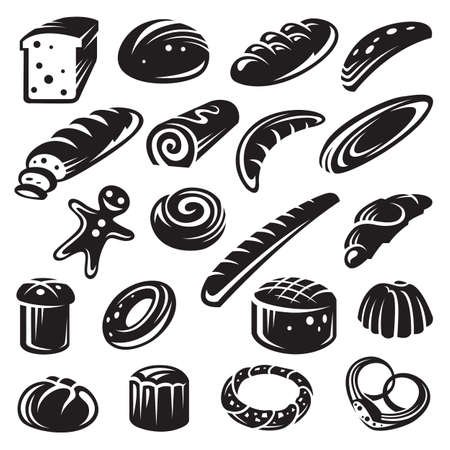 set of twenty monochrome bakery Vector