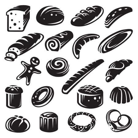 bagel: set van twintig monochrome bakkerij Stock Illustratie