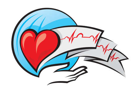 heart and electrocardiogram Stock Vector - 11650404