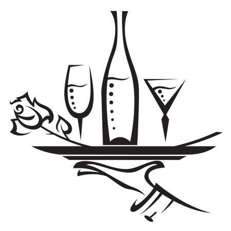 serveur avec plateau: restaurant de l'ic�ne Illustration