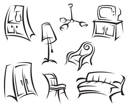 sofa furniture: interior icon set