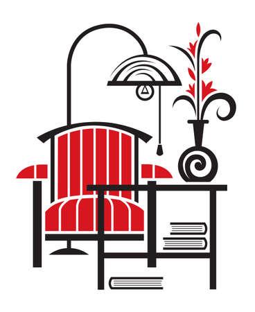 piso negro: sill�n con una mesa y l�mpara de pie Vectores