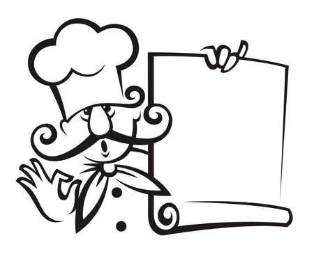 dine: chef with menu Illustration