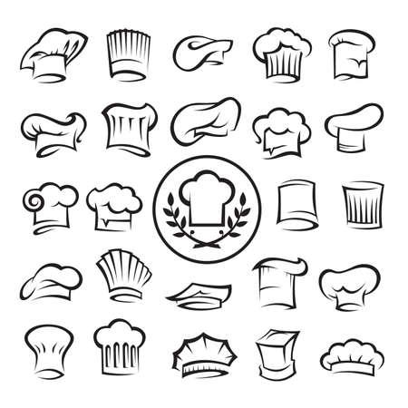 gorro chef: conjunto de chef de sombreros Vectores