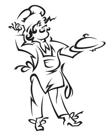 chef with tray of plate in hand Vector