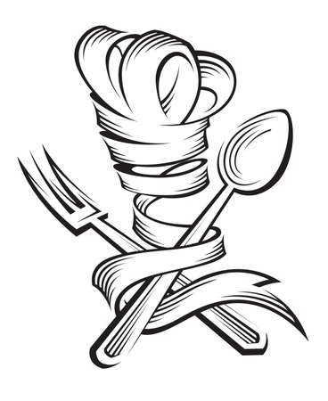 šéfkuchař: chef klobouk, lžíce a vidlička