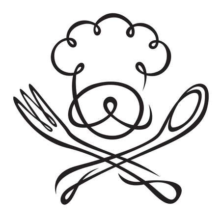 chef con cucchiaio e forchetta
