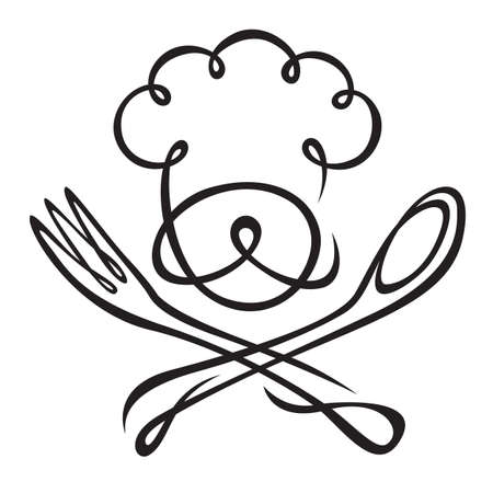 gorro chef: chef con cuchara y tenedor Vectores