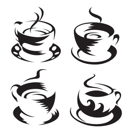 coffee beans isolated: coffee cups Illustration