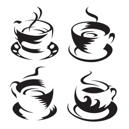 granos de cafe: tazas de caf� Vectores