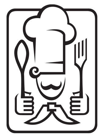 chef with spoon and fork Stock Vector - 11650259