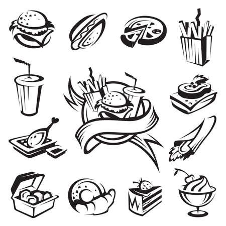 caja de pizza: conjunto de la comida r�pida