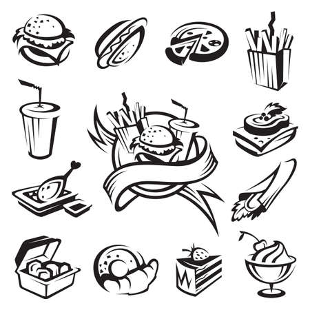 eating fast food: fast food set  Illustration