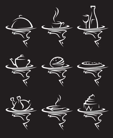 tray: restaurants icon set