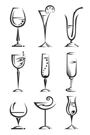 bollicine champagne: bere collezione di vetri Vettoriali