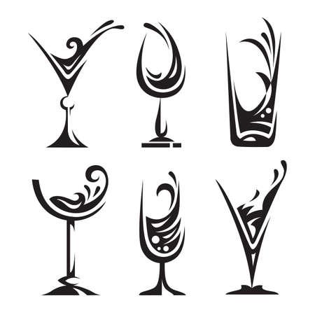 copa de vino: beber la recogida de vidrio Vectores