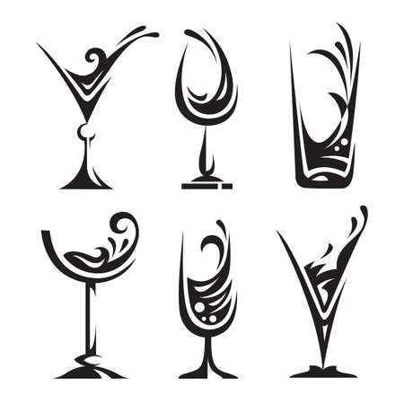 drinking glass collection Vector